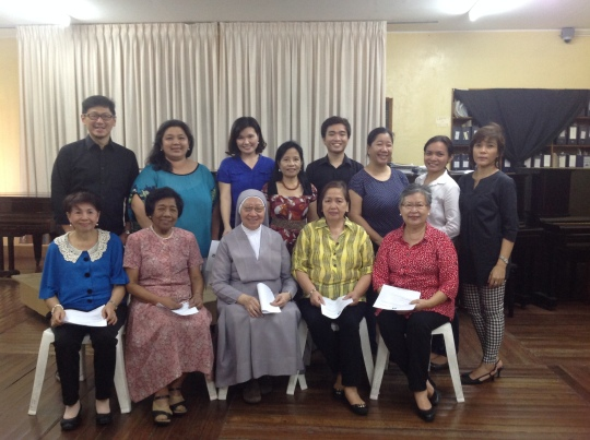 The PTGPFI Officers and Board members together with Sr. Annunciata Sta. Ana, SPC Front row (L-R): Lourdes Guillen, Mauricia Borromeo, Sr. Maria Annunciata Sta. Ana, SPC, Cecile Roxas, Ingrid Chua-Lao Back row (L-R): Anthony Say, Reubel Uy, Ya-shu Lin, Meriam Macalisang, Eloise Gonzalo, Melissa Taqueban, Mary Anne Espina